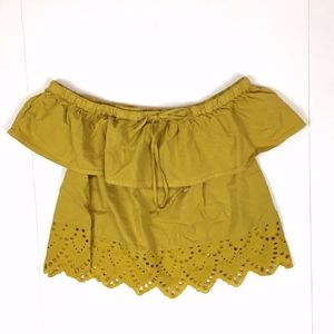 Madewell Cropped Off the Shoulder Eyelet Top sz L